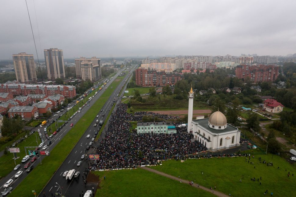 Eid prayers at a mosque in Saint Petersburg, Russia, Sept. 12, 2016.