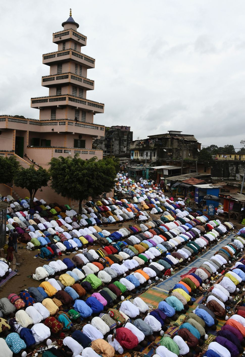 Muslims pray in the province of Adjame in Abidjan, Ivory Coast, Sept. 12, 2016.