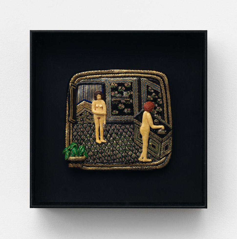 """Nancy Fried, """"Her Home,"""" 1980, Flour, salt, acrylic"""