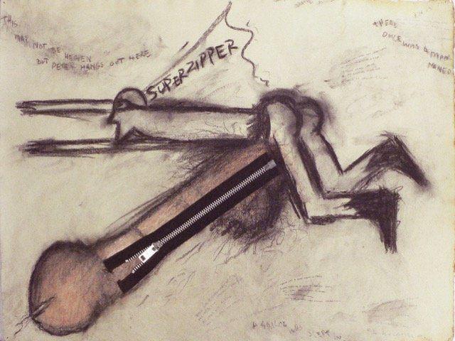 "Judith Bernstein, ""Super Zipper 6,"" 1967, Charcoal mixed media on paper"