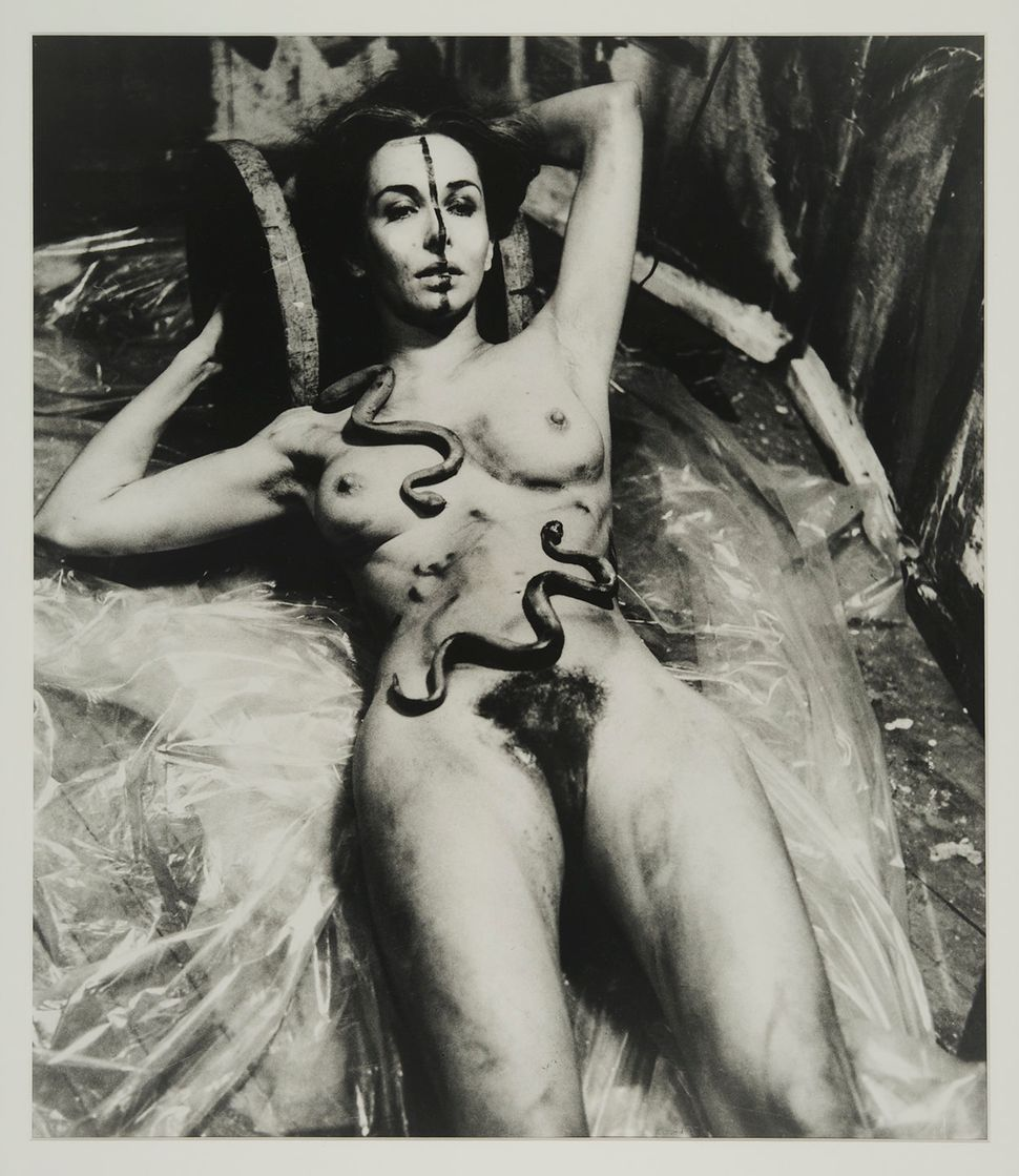 "Carolee Schneemann, ""Eye Body (From 36 Transformative Actions for Camera),"" 1963/1985, Black and white photograph<i></i>"