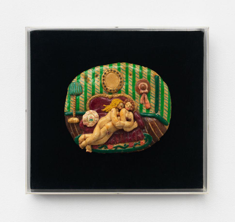 """Nancy Fried, """"Victorian Lovers,"""" 1976, Flour, salt and acrylic"""