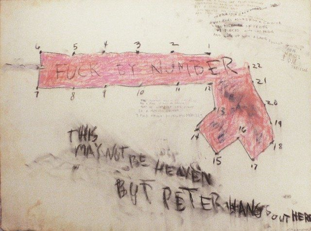 "Judith Bernstein, ""Fucked by Number,"" 1966, Charcoal and mixed media on paper"