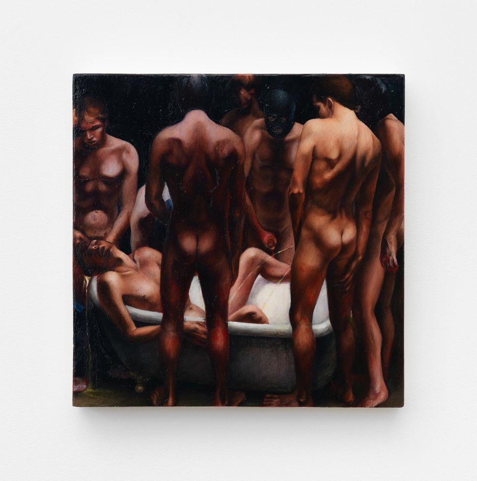 """Monica Majoli, """"Untitled Bathtub Orgy,"""" 1990, Oil on panel"""