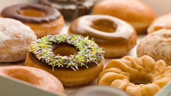Selection Of Doughnuts In A Tray