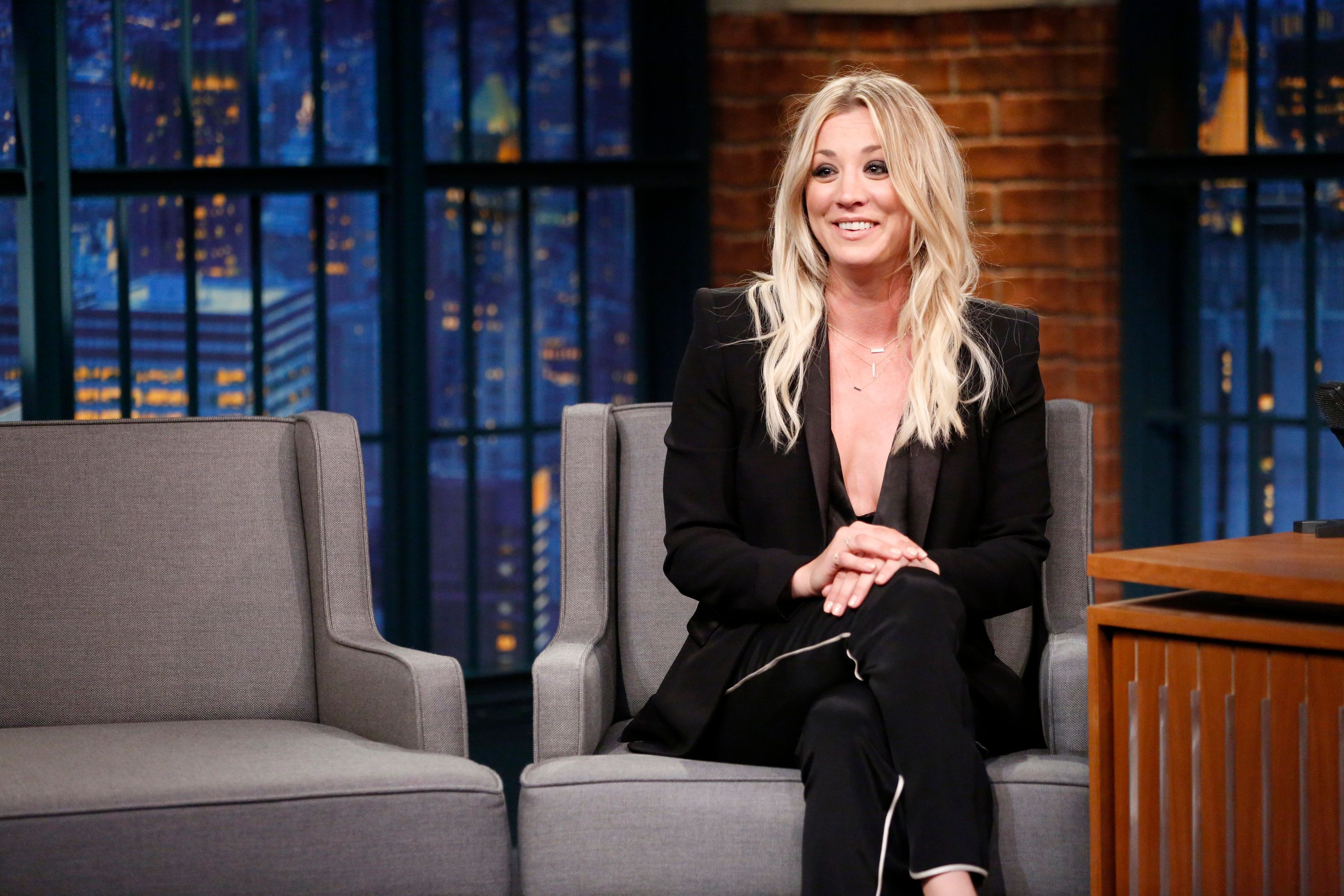 LATE NIGHT WITH SETH MEYERS -- Episode 367 -- Pictured: Actress Kaley Cuoco during an interview on May 10, 2016 -- (Photo by: Lloyd Bishop/NBC/NBCU Photo Bank via Getty Images)