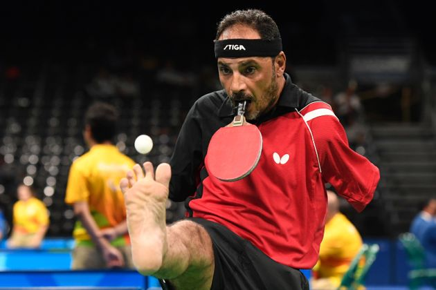 Egypt's Ibrahim Hamadtou competes in table tennis at the Riocentro during the Paralympic Games in Rio...