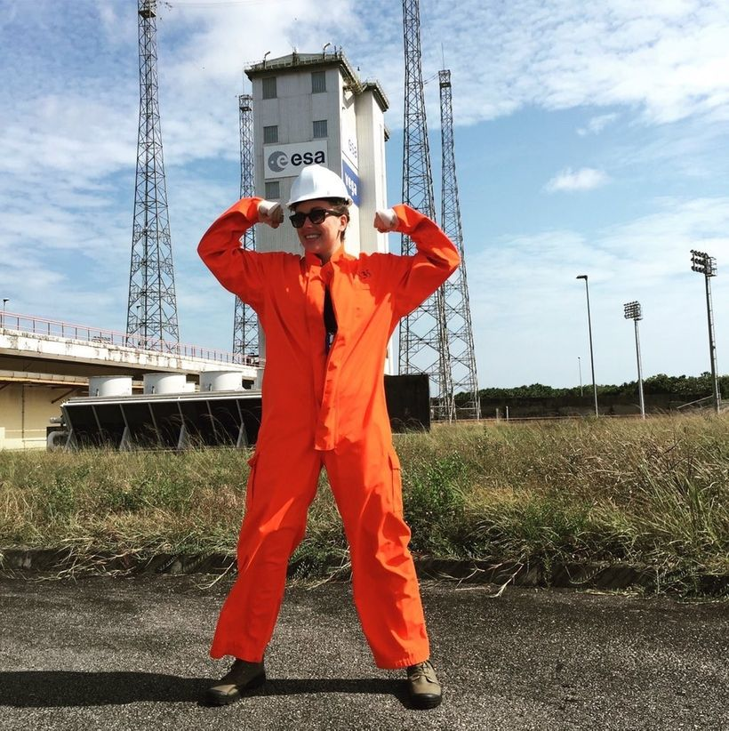 Stephanie Evans at launch site in French Guiana