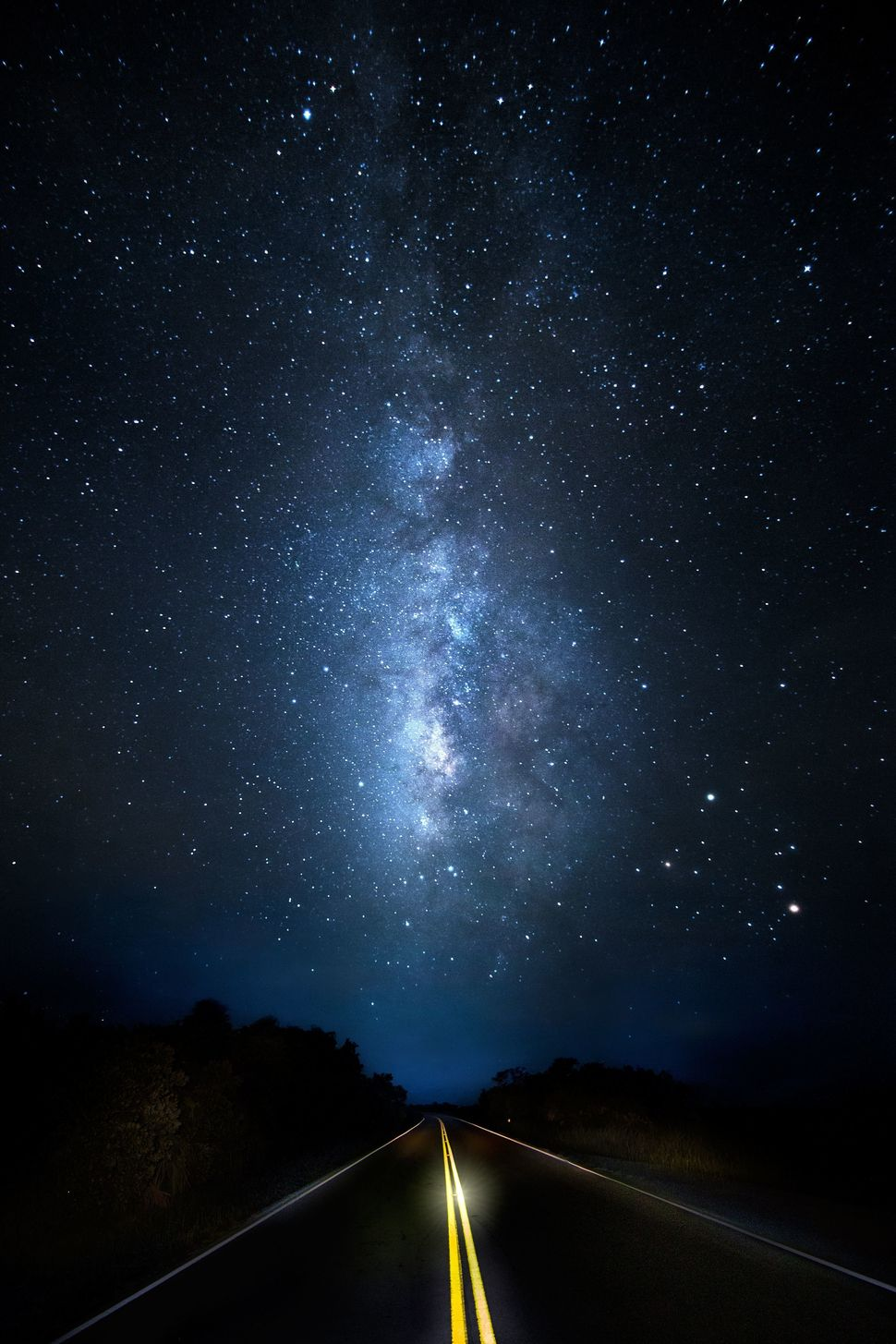 The Milky Way seems to be the ultimate destination on this rural country road.