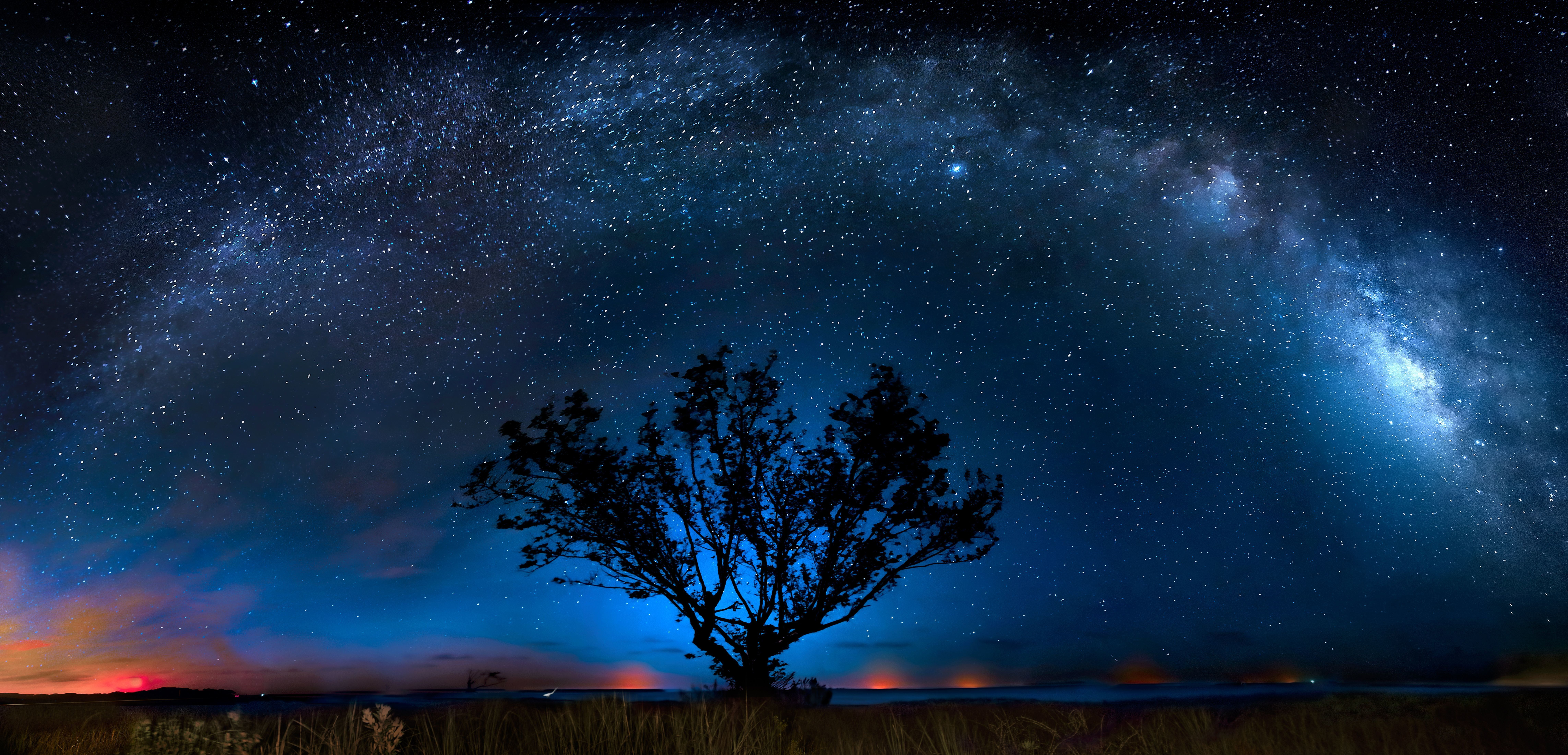 The full arc of the Milky Way required 14 vertical exposures stitched together for this panorama at Everglades National Park,