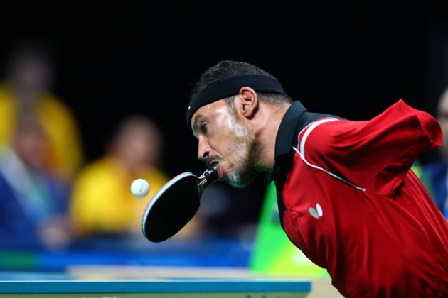 Ibrahim Hamadtou of Egypt competes in the men's singles Table Tennis - Class 6 at the Rio 2016 Paralympic