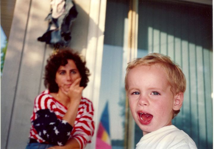 Julie Tarney with her young son Harry in the Midwest.