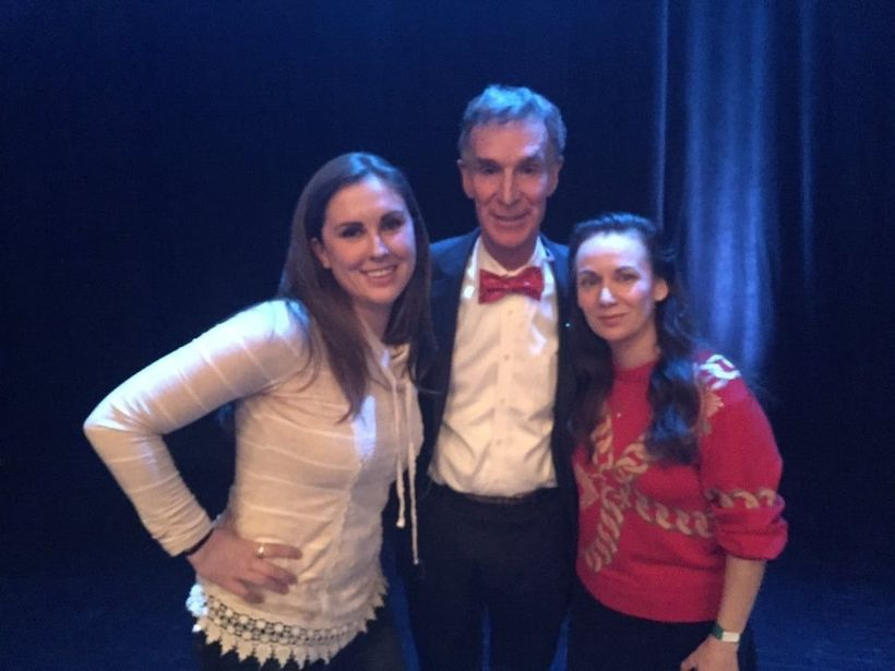 Stephanie Evans with her idol Bill Nye, and Heather Archuletta from StarTalk Live.