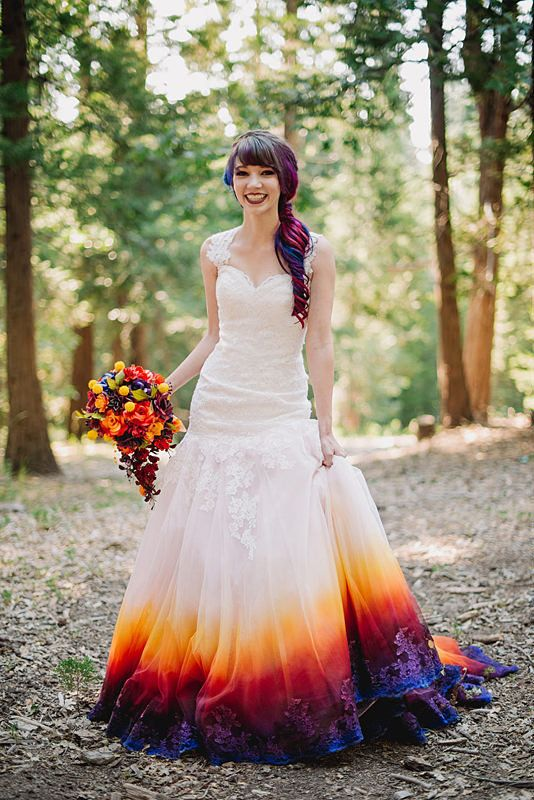 This Brides Airbrushed Dress Is The Stuff Of Technicolor Dreams