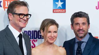 MADRID, SPAIN - SEPTEMBER 09:  (L_R) Colin Firth, Renee Zellweger, and Patrick Dempsey attend 'Bridget Jones Baby' premiere at Kinepolis Cinema on September 9, 2016 in Madrid, Spain.  (Photo by Juan Naharro Gimenez/Getty Images)