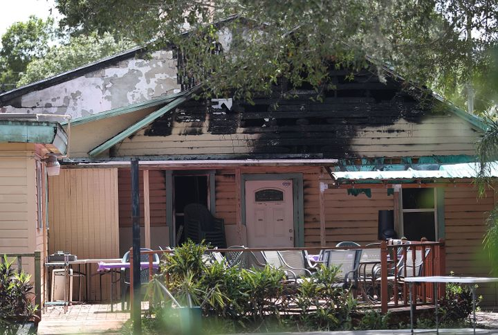 The Islamic Center of Fort Pierce in Fort Pierce, Florida, after someone set it on fire.