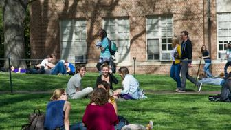 CHAPEL HILL, NC - March 30: Students relax and study at Polk Place on campus at the University of North Carolina on March 30, 2016, in Chapel Hill, North Carolina. (Photo by Ann Hermes/The Christian Science Monitor via Getty Images)