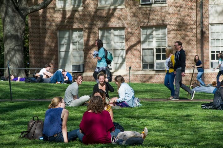 Students congregate on University of North Carolina's Chapel Hill campus.