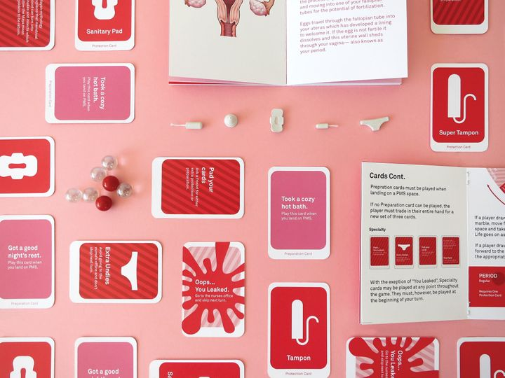 The Period Game featuresinstructional cards, playing pieces and instructional manuals.