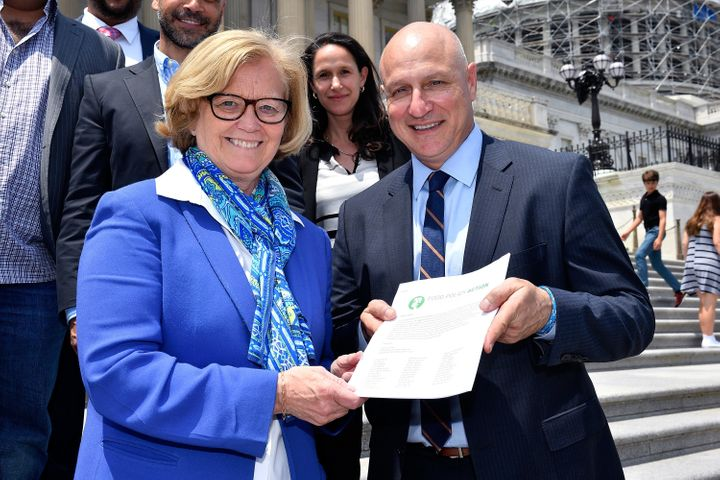 Chef Tom Colicchio (R) with Rep. Chellie Pingree (D-Maine) on Capitol Hill during a day of action on food waste reduction thi