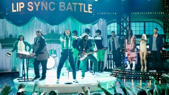 STUDIO CITY, CA - SEPTEMBER 11: (L-R) Stevie Wonder, John Legend, Host LL Cool J, Terry Crews, Olivia Munn and Michael Phelps perform onstage during Spike TV's Lip Sync Battle: All Stars Live on September 11, 2016 in Studio City, California. (photo by Trae Patton / Spike TV)  (Photo by Handout/Getty Images for Spike TV)