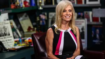 Kellyanne Conway, president and chief executive officer of Polling Co. Inc./Woman Trend, smiles during an interview on 'With All Due Respect' in New York, U.S., on Tuesday, July 5, 2016. Asked how Trump reassures conservatives about his positions on issues such as abortion without losing ground with voters in the center, Republican pollster Conway, one of Trump's new senior strategists, said he would work to shift the spotlight to Clinton. Photographer: Chris Goodney/Bloomberg via Getty Images