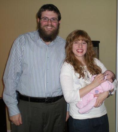 Rabbi Chaim & Chavie with baby Chaya at the Adoption Agency, November 2009.