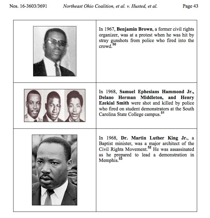Excerpt from an 11-page gallery of civil rights martyrs published in Judge Keith's dissenting opinion in Northeast Ohio Coali