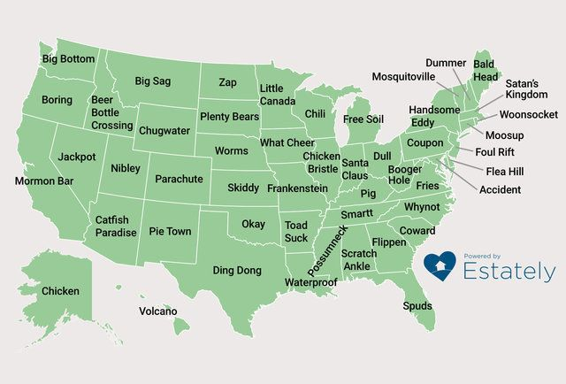 Thismap shows the oddest-named towns in each U.S. state, according to Esately.com.