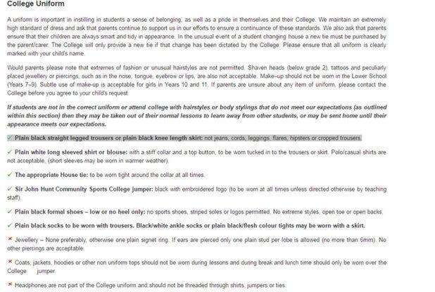 A school letter about the uniform