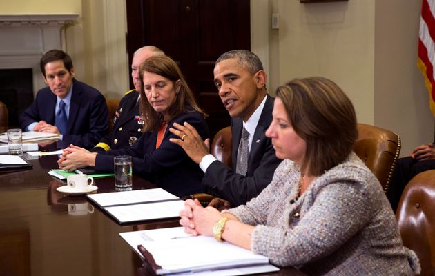 President Obama meeting with his national security team in
