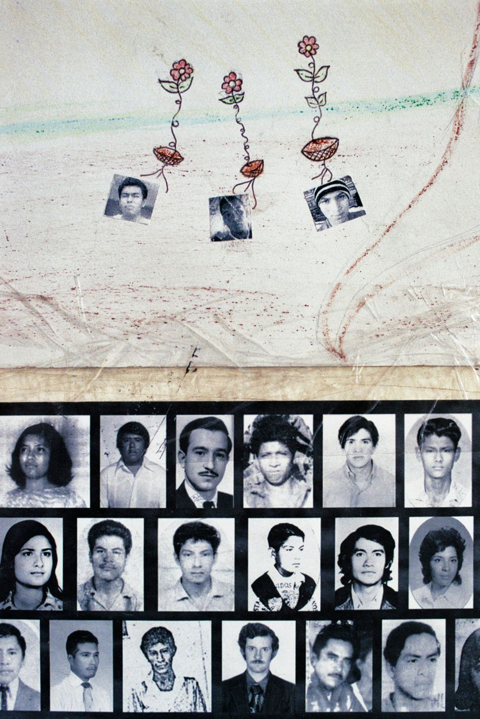 Drawings of Julio César Ramírez, Daniel Solís and Julio César Mondragón, the three Ayotzin