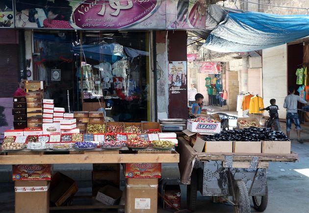 Amarket during the Eid al-Adha (Feast of Sacrifice) in Aleppo, Syria on Sept. 12. Eid al Adha is...