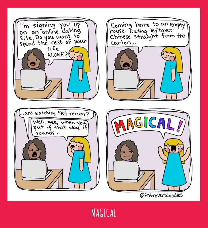 What It     s Like To Date As An Introvert  In    Awkward Comics   The     The Huffington Post Introvert Doodles