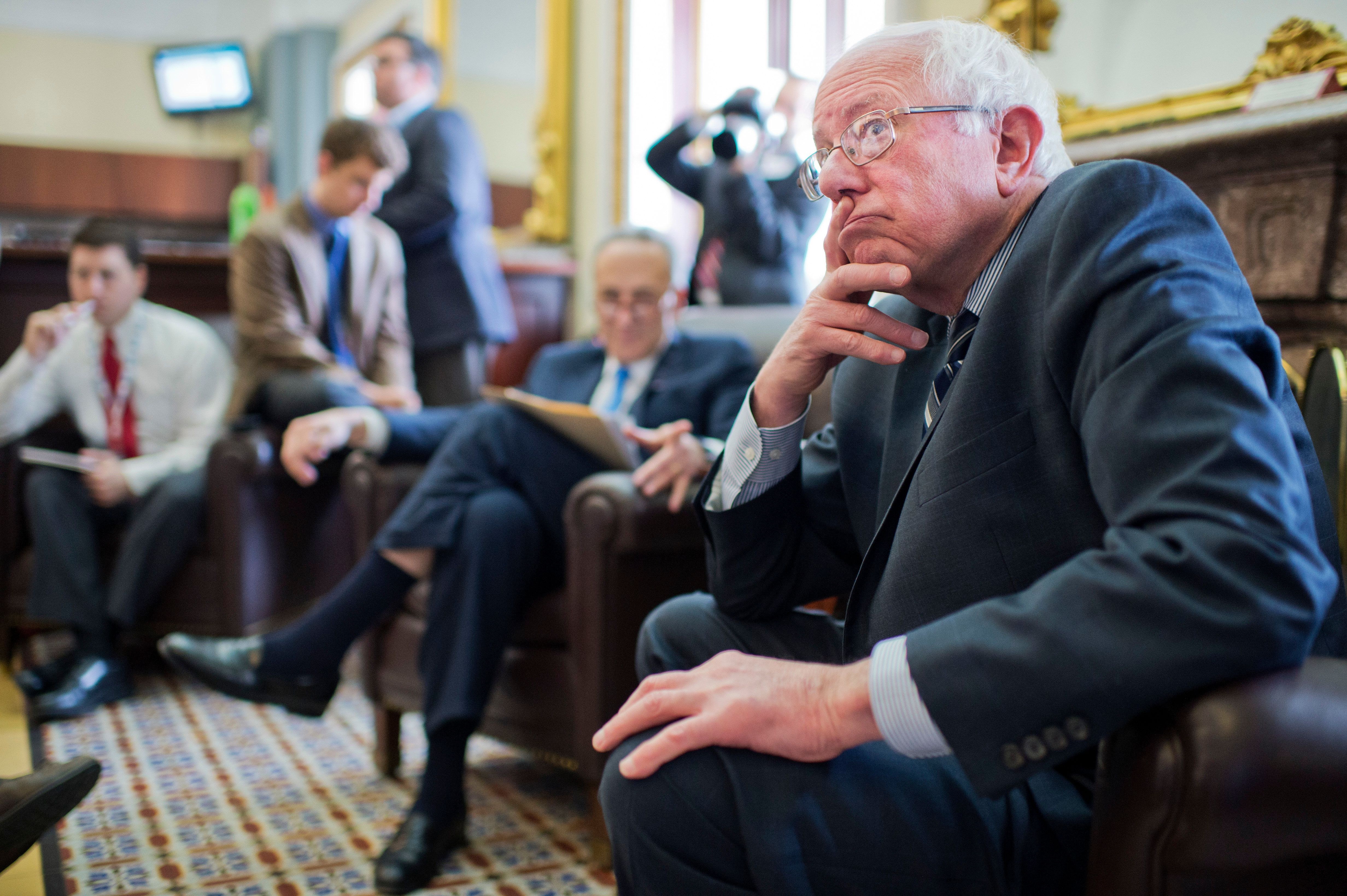 Sens. Bernie Sanders (I-Vt.) and Chuck Schumer (D-N.Y.) are among the leaders of a Senate push to add a public option to the