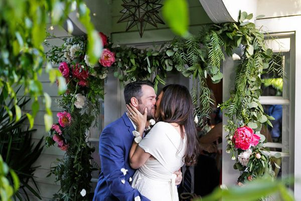 """""""We chose to start our marriage off in the most natural way possible:by hosting our wedding at our home.We"""