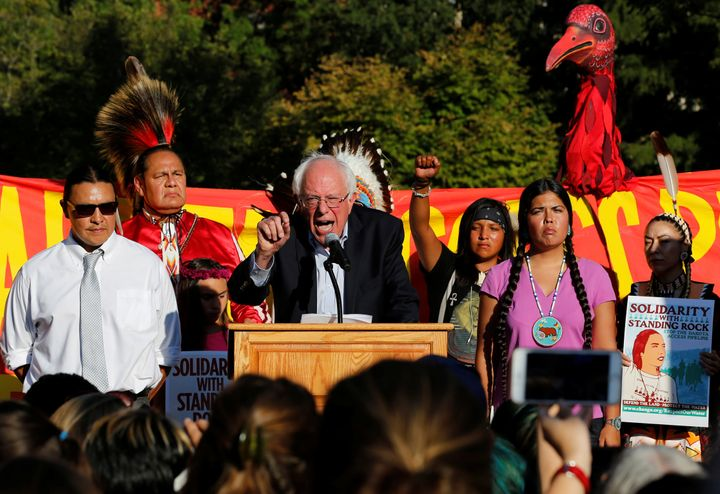 Sen. Bernie Sanders (I-Vt.) speaks at a rally to call on President Barack Obama to stop the Dakota Access Pipeline, in f