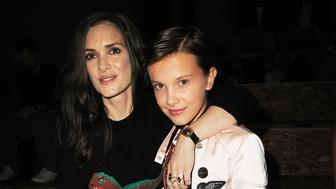 NEW YORK, NY - SEPTEMBER 13:  Winona Ryder and Millie Bobby Brown attends the Coach 1941 Women's Spring 2017 Show at Pier 76 on September 13, 2016 in New York City.  (Photo by Chance Yeh/Getty Images for Coach)