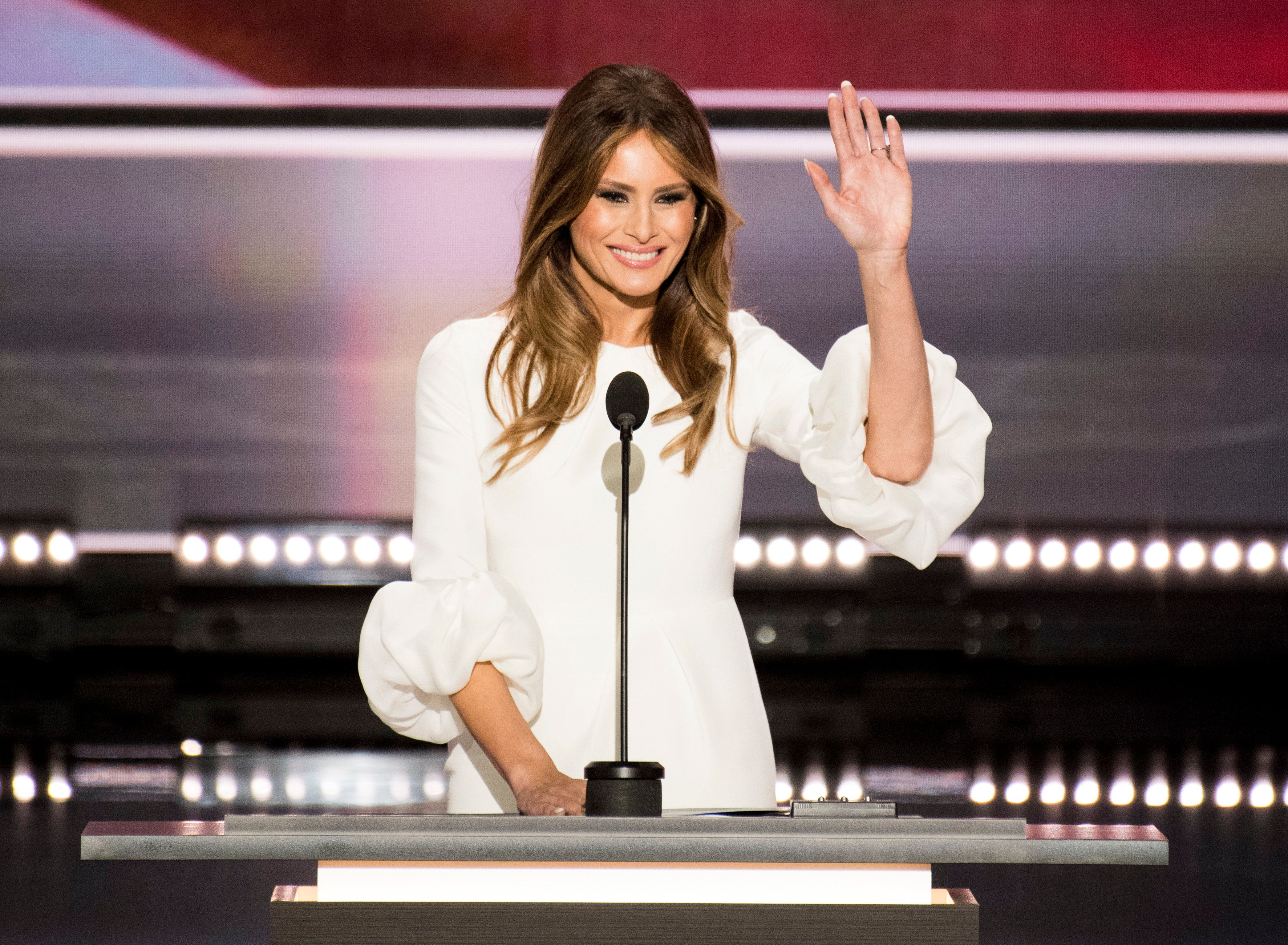 Melania Trump, wife of Republican presidentialnominee Donald Trump, says she came to the U.S. for the first time in 199