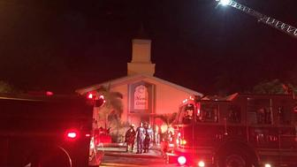 Emergency personnel are seen at the Islamic Center of Fort Pierce which was set on fire, in Fort Pierce, Florida, September 12, 2016.  St. Lucie County Sheriff's Office/Handout via Reuters   ATTENTION EDITORS - THIS IMAGE WAS PROVIDED BY A THIRD PARTY. EDITORIAL USE ONLY     TPX IMAGES OF THE DAY