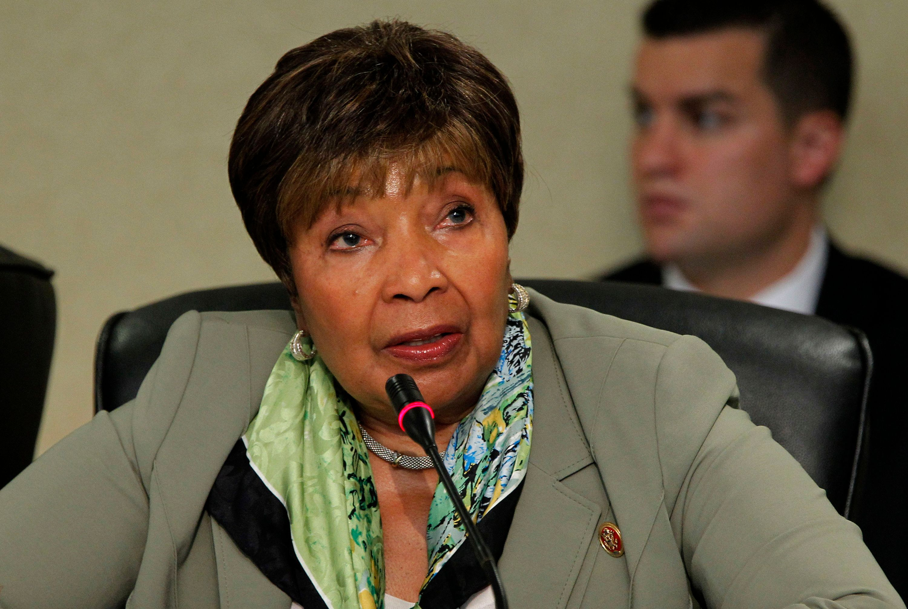 Rep. Eddie Bernice Johnson (D-Texas) asks questions  at a hearing of the House Committee on Homeland Security at Dallas/Fort Worth International Airport to look at the federal, state and local response to the Ebola case in Dallas on Friday, Oct. 10, 2014. (Rodger Mallison/Fort Worth Star-Telegram/MCT via Getty Images)