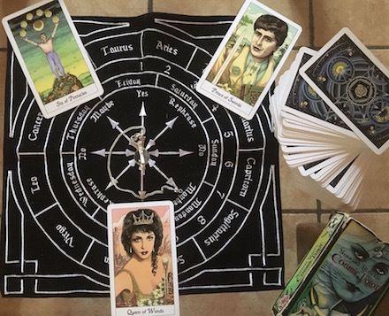 6 of Pentacles, Prince of Swords, Queen of Wands