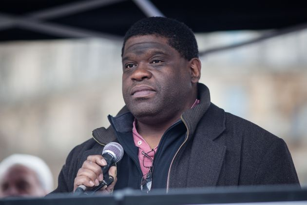 Gary Younge at a protest earlier this