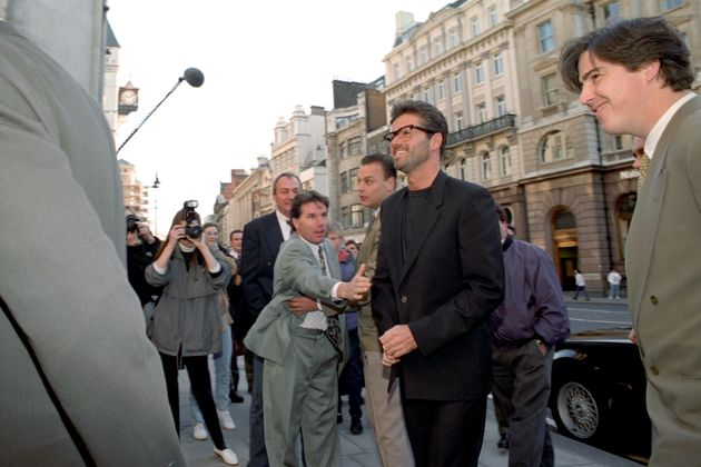 George Michael outside court during his battle with Sony in