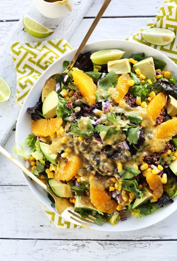 """<strong>Get the <a href=""""http://minimalistbaker.com/mexican-quinoa-salad-with-orange-lime-dressing/"""" target=""""_blank"""">Quinoa S"""