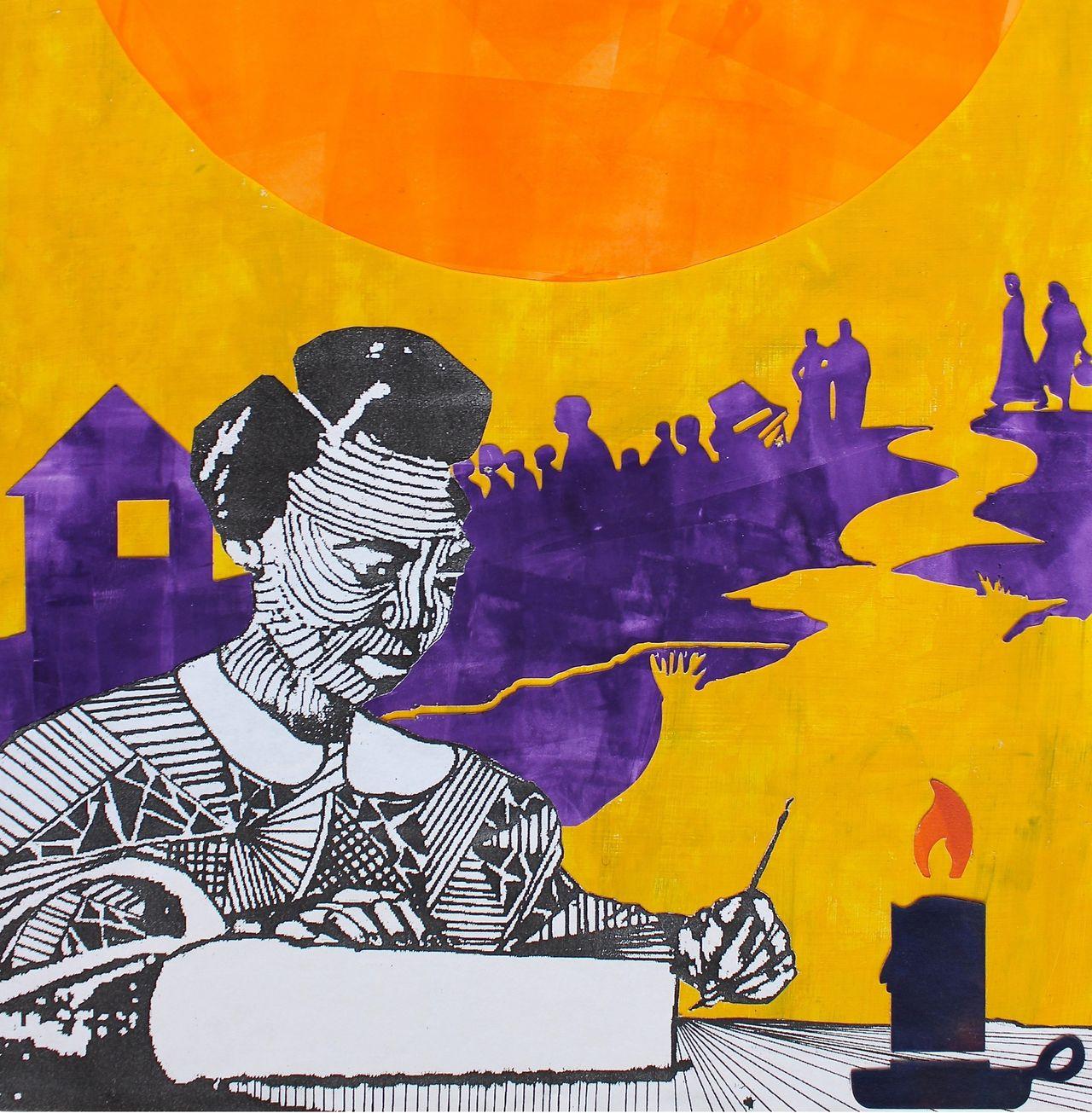 Mary Bibb, a black educator and community organizer. Naomi Moyer, mixed media.
