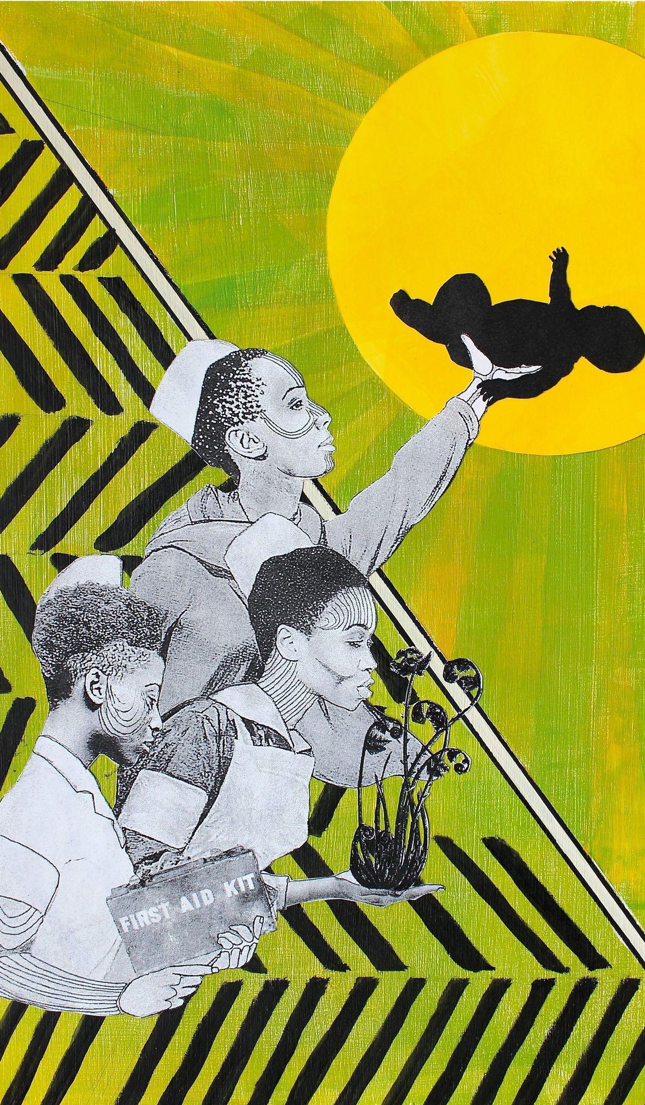 The Black Cross Nurses, healers for black communities. Naomi Moyer, mixed media.