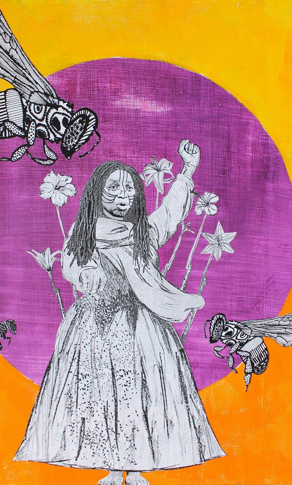 Sherona Hall, a black feminist and philanthropist based in Toronto, Canada.Naomi Moyer, mixed media.