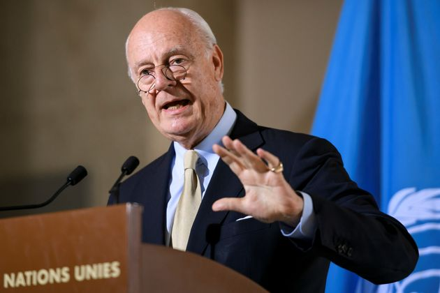 UN's Syria envoy Staffan de Mistura gestures during a press briefing following a meeting of the International...