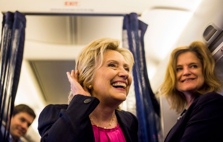 Democratic Nominee for President of the United States former Secretary of State Hillary Clinton briefly says good morning to